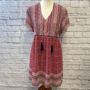 Knox Rose Floral Stripe Dress XXL Red EUC